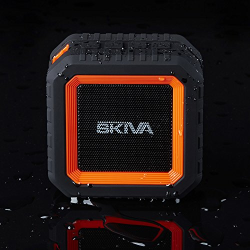 Skiva SoundCube Waterproof Bluetooth Speaker with 12 Hours Playtime (Portable/Wireless / IP65 Splashproof / 2200mAH / Microphone) for iPhone X 8+, Samsung Galaxy [Color: Orange Black] [Model:SP104]