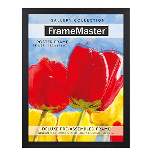 FrameMaster 18x24 Poster Frame (1 Pack), Black Wood Composite, Gallery Edition