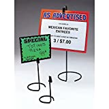 Sign Holder With Clip Black Metal Wire 3'' Dia x 6'' H