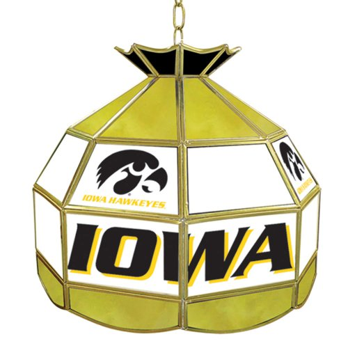 NCAA University of Iowa Tiffany Gameroom Lamp, (University 16 Stained Glass)