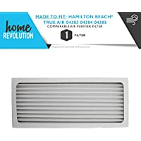 Hamilton Beach True Air 04383 04384 04385 990051000 Compact Comparable Aftermarket Air Purifier Filter. A Quality Home Revolution Brand Replacement.