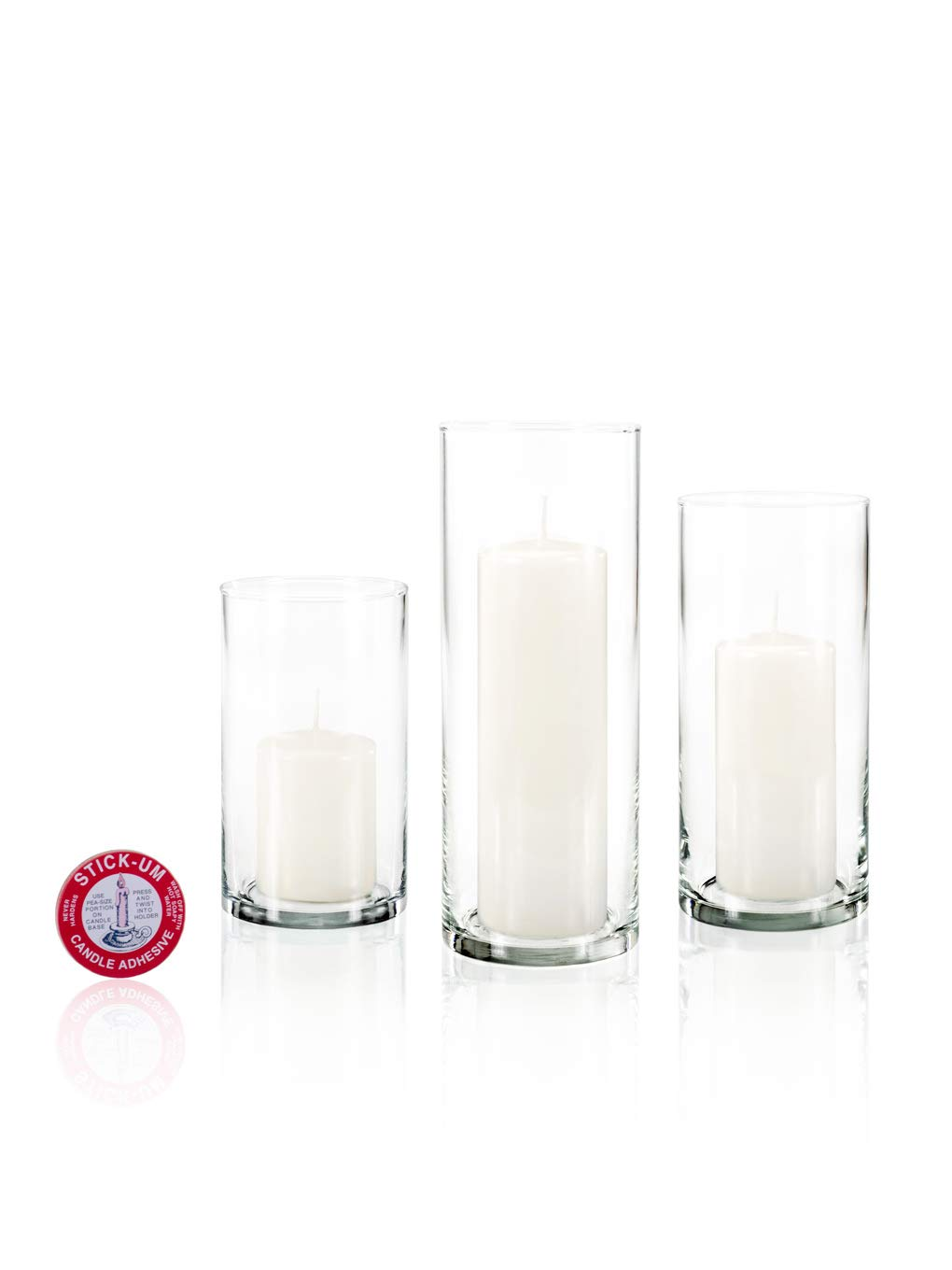 Yummi Set of 12 Slim Pillar Candles Cylinder Vases - White
