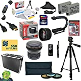"""47th Street Photo All Sport Accessory Kit For the Canon Rebel T2i, T3i, T4i, T5i, 650D, 700D, Kiss X5 Kiss X4, KissX6i, Kiss X7i, EOS 550D, 600D DSLR Digital Camera - Kit Includes: 64GB High Speed SDXC Card + Card Reader + 2 Extended Life Batteries + Dual Battery Charger + 58MM Opteka HD2 0.20X Wide Angle AF Fisheye Lens + 58MM 2.2x HD2 AF Telephoto Lens + 58MM 3 Piece Pro Filter Kit (UV, CPL, FLD Lens) + HDMI Cable + Hard-Sided ABS Pro Case + Remote Control + Professional 60"""" Tripod + Lens"""