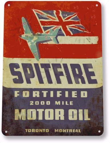 TIN Sign Spitfire Motor Oil Gas Oil Garage Auto Shop Rustic Metal Decor