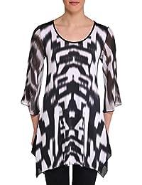 Nygard Women's Plus Size Slims 3/4 Bell Sleeve Tunic Black/White
