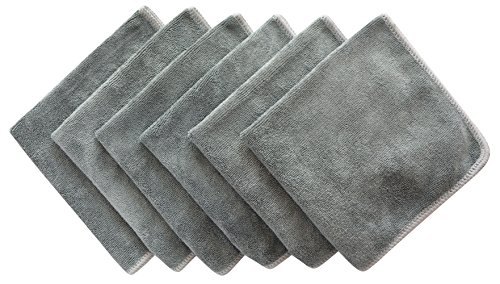 Sinland All-purpose Microfiber Cleaning Cloths Wiping Highly Absorbent & Lint Free Dusting Rags for Home and Kitchen 12Inchx12Inch Dark Grey 6 Pack
