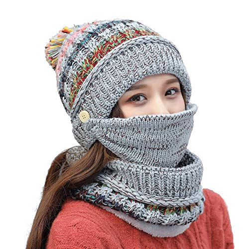 abcc3644eb67d Ypser Fleece Lined Pom Pom Beanie Scarf Mask Set Winter Knit Hats for Women