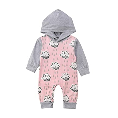 f0a51903a89d Anyozu Cute Infant Baby Girl Hooded Romper Long Sleeve Jumpsuit Smile Stars  Outfits Clothes