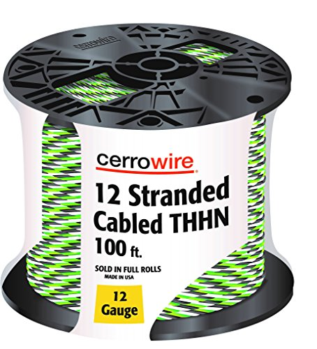 CERRO 112-361253C 100-Feet 12 Gauge Stranded Cabled THHN Black, White and Green Wire, 100-Foot (Thhn Wire Green)