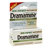 Dramamine Non-Drowsy Naturals Motion Sickness Relief Capsules 18 ea (Pack of 3)