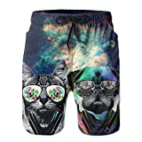Dj Cat With Earphone Pet Animal Dj Pug Dog Men's Tropical Quick Dry Board Shorts Bathing Suits Swimwear Volley Beach Trunks
