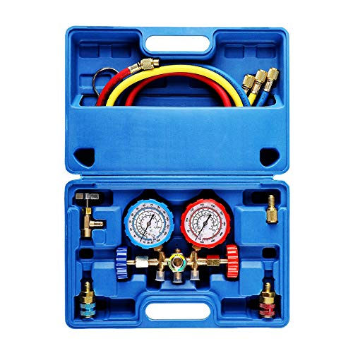 OrionMotorTech 3 Way AC Diagnostic Manifold Gauge Set for Freon Charging, Fits R134A R12 R22 and R502 Refrigerants, with 3FT Hose, Acme Tank Adapters, Quick Couplers and Can Tap