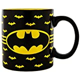 DC Comics Silver Buffalo BN8632 Batman Logo with Bat Pattern 14-Ounce Ceramic Mug, 14 oz. Black/Yellow