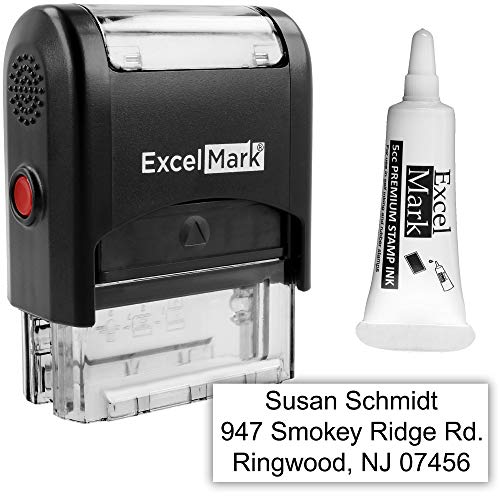 Custom Self Inking Rubber Stamp - 3 Lines - with Ink Bottle 5cc ()