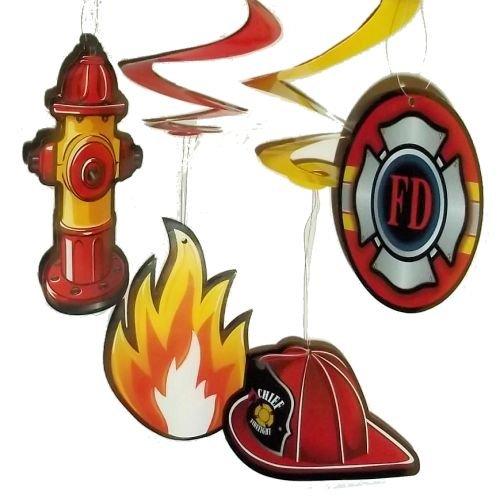[12 (1 dozen) Firefighter Fireman Party Dangling Swirls] (Firefighter Decorations)