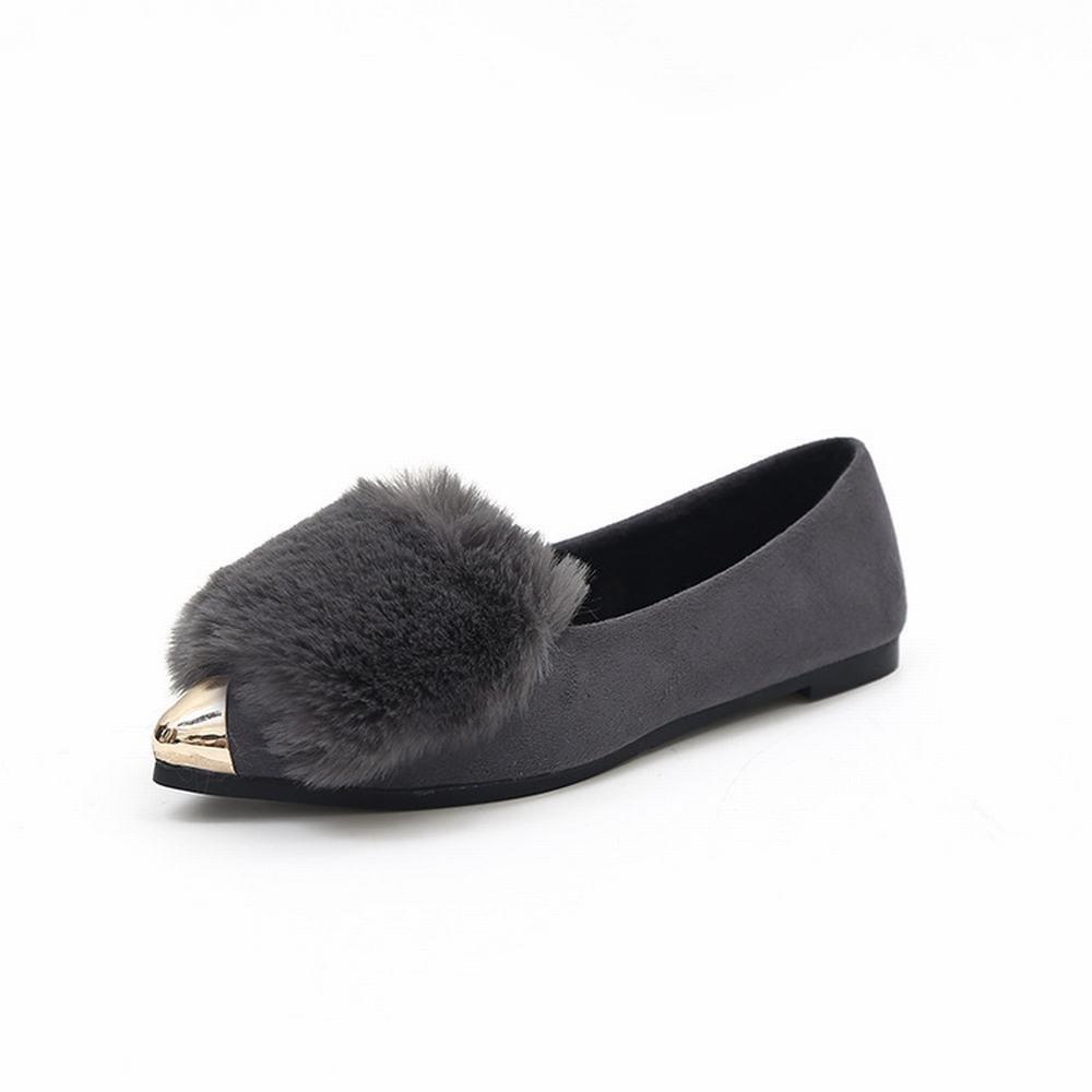 DXD Winter Plus Baumwolle Schuhe Weiblichen Spitz Flachem Mund Faulen Schuhe Weiblich Flach mit Wilden Schuhen