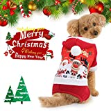 Idepet Christmas Dog Clothes for Small Dog Pet Xmas Costumes Winter Coat Sweatshirt Clothing Cute Puppy Outfit for Dog