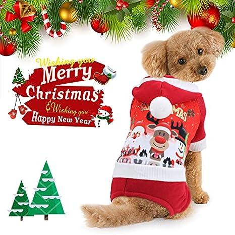 Idefair Navidad perro traje gato ropa invierno perrito sudadera con capucha chaqueta de abrigo para perro gato Chihuahua Yorkshire: Amazon.es: Productos ...
