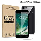 iphone 4 front screen protector - (4-Pack) Akwox Tempered Glass Front and Back Screen Protector for iPhone 8 Plus, 7 Plus, iPhone 6S Plus, 6 Plus [5.5
