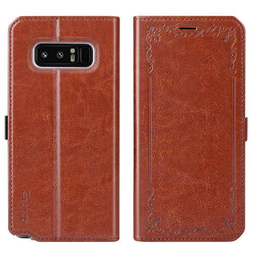 Ztotop Luxury Flip Full Body Leather Case Cash Holder Protective Cover for Samsung Galaxy Note 8 - Brown