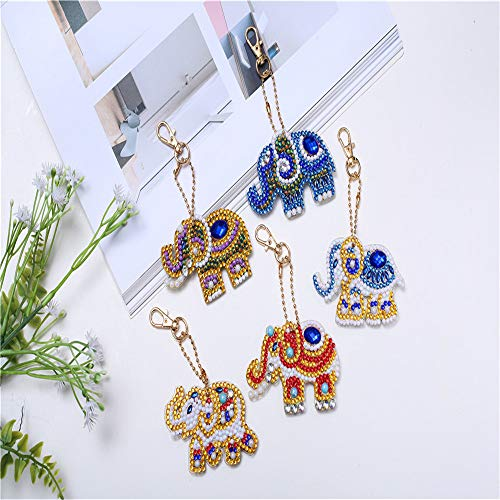 Celebrity Diamond Jewelry - DIY Diamond 5pcs Keychain Sets Painting Kits Pendants Full Drill Crystal Jewelry Hand Bag Backpack Accessories Metal Gift Elephants