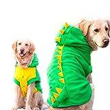Funny Halloween Big Large Dog Dinosaur Costume Jacket Coat Warm Fleece Winter Golden Retriever Pitbull Dog Clothes Hoodie (7XL, Green)