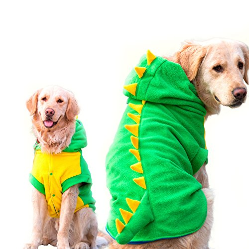 FLAdorepet Funny Halloween Big Large Dog Dinosaur Costume Jacket Coat Warm Fleece Winter Golden Retriever Pitbull Dog Clothes Hoodie (5XL, Green)
