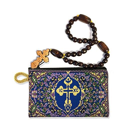 Byzantine Knot - Set of 2 Wooden Prayer Beads 30 Knots and Byzantine Cross Pouch 4 3/4 Inch