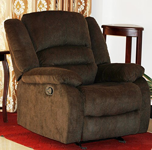 Us Reclining Rocking Chair (US Pride Furniture Contemporary Fabric Rocking Recliner Chair, Chocolate)