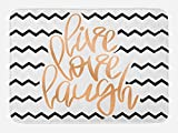 Ambesonne Live Laugh Love Bath Mat, Motivational Calligraphic Artwork with Zigzags Chevron Stripes, Plush Bathroom Decor Mat with Non Slip Backing, 29.5 W X 17.5 W Inches, Black White and Peach