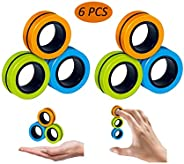 6 PCS Stress Relief Magnetic Rings - EDC Fidgeting Game for Autism ADHD Anxiety Relief Focus Decompression - F