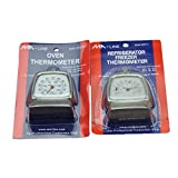 MA-Line Stainless Steel Hanging Dial Thermometer Set (Freezer/Refrigerator And Oven)