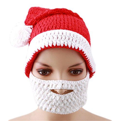 HS Adults Christmas Santa Claus Hat Creative Handmade Knitted Cap Halloween Beard Hats for (Creative Handmade Halloween Costumes)