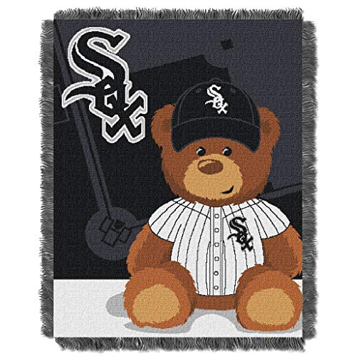 "36""x46"" MLB White Sox Baby Throw Sports Baseball Blanket Teddy Bear Animal Team Logo Printed Plush Cozy Throw Blanket For Kids Soft Warm Bedding Fringed Borders Fans Gift Durable Acrylic, White Black"
