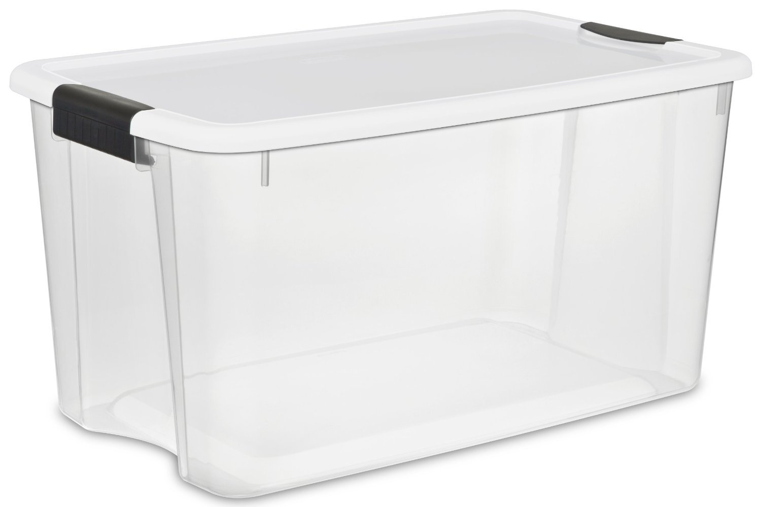 STERILITE 70 Quart/66 Liter Ultra Latch Box, Clear with a White Lid and Black Latches, (8-Pack)