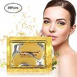 Amareu 24K Gold Eye Mask (30 Pairs) Collagen Eye Pads Crystal Gel For Anti-Aging, Moisturizing Reducing Dark Circles, Puffiness, Firming, Wrinkles