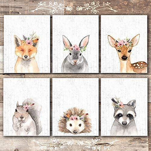 Woodland Animals Nursery Wall Art Prints (Set of 6) - Unframed - 8x10s - Bunny Nursery Decor
