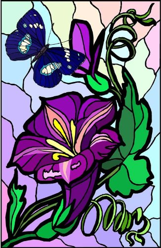 y Flower with Blue Butterfly-Vinyl Stained Glass Film, Static Cling Window Decal ()
