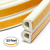 #10: Double Weather Stripping for Door and Windows – 23 FEET – Self-Adhesive Seal Soundproof Weather Stripping – D-Shape Strip Tape – White