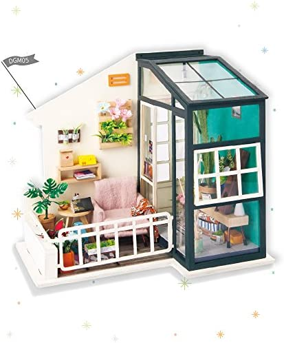 Rolife DIY Miniature Dollhouse KitFancy BalconyFurnitureWooden Dollhouse Kit for KidsToy Playset Gift for TeensBest Birthday/Christmas for Women and Girls