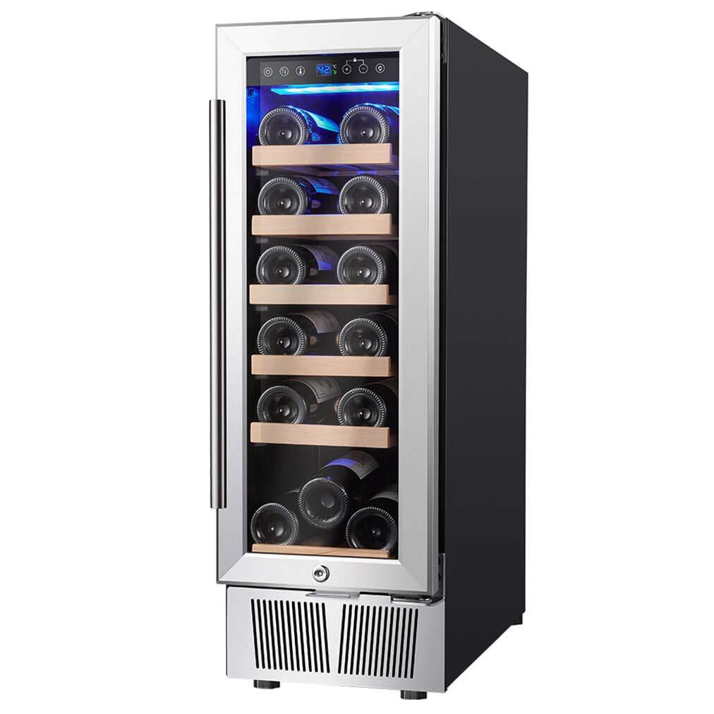 AMZCHEF 12'' Wine Cooler, Wine Refrigerator Built-in or freestanding Quiet & Constant Temperature (stainless steel&g)