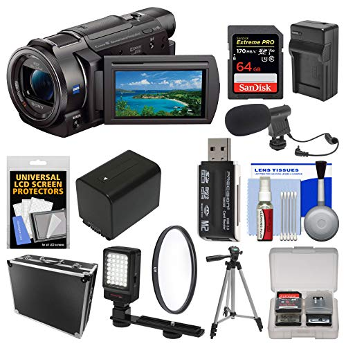 Sony Handycam FDR-AX33 Wi-Fi 4K Ultra HD Video Camera Camcorder with 64GB Card + Hard Case + LED Light + Microphone + Battery/Charger + Tripod Kit (Video Camera 4k Sony)