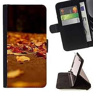 For HTC DESIRE 816 Case , Brown Feuilles Soleil - la tarjeta de Crédito Slots PU Funda de cuero Monedero caso cubierta de piel