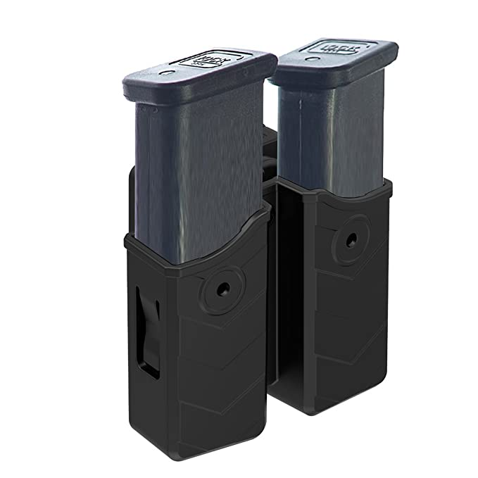 Review Double Magazine Pouch, Universal 9mm .40 Magazine Holder, Dual Stack Mag Holster with Belt Clip(1.5-2.0 inch) Fits Glock H&K Smith & Wesson Ruger Sig Sauer Browning Taurus Beretta Walther CZ and More