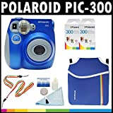 Polaroid PIC-300 Instant Film Analog Camera (Blue) with (2) Polaroid 300 Instant Film Packs of 10 + Polaroid Neoprene Pouch + Polaroid Cleaning Kit + Neck & Wrist Strap