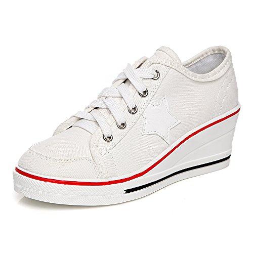 OCHENTA Women's Canvas Wedge Heeled Platform Fashion Sneaker Pump Shoes #3 White Label 39 - US (Platform Fashion)
