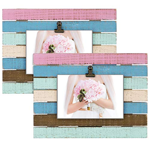 SZQINJI Picture Photo Frame Pack of 2 Colored Stripes Solid Wood for Table Top Display and Wall Mounting (Horizontal Display)