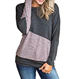 Londony ♥‿♥ Women's Comfy Color Block Crew Neck Tops Blouse Striped Activewear Pullover Sweatshirt with Long Sleeve