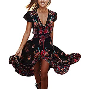 Mujer Vestidos Largos De Verano Vestidos Playa Elegantes Manga Corta V Cuello Casual Vintage Hippie Boho Flores Vestidos… | DeHippies.com