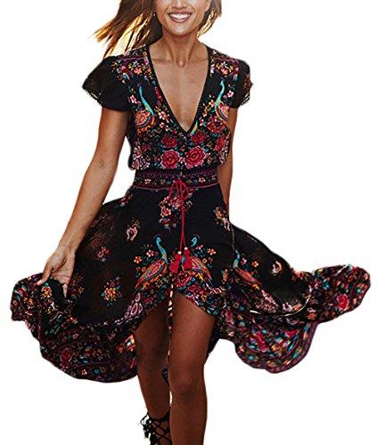 Vestidos Mujer Verano Largos Vintage Bohemio Estilo Etnica Flores Impresa Casual Elegantes Manga Corta V Cuello Alto Cintura A-Line Vestidos Playa Vestidos Verano Vestido Largo Negro